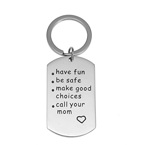 Review Have Fun, Be Safe, Make Good Choices and Call Your MOM Stainless Steel Keychain. Perfect gift for NEW DRIVER or Graduation Keychain