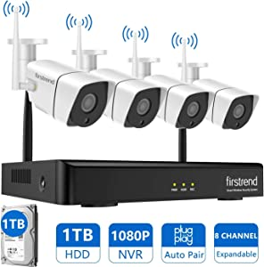 Security Camera System Wireless,Firstrend 8CH 1080P NVR Security Camera System
