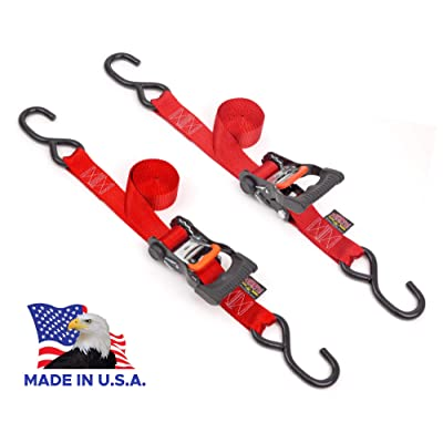 Powertye 1½in x 7ft Ergonomic Locking Ratchet Tie-Downs Made in USA with Heavy-Duty S-Hooks, Red (Pair): Automotive