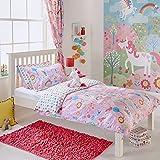 Unicorn 2Niñas de Cama Funda de edredón y de Almohada Juego de Cama Juego de Cama Flores de arcoíris, Color Rosa