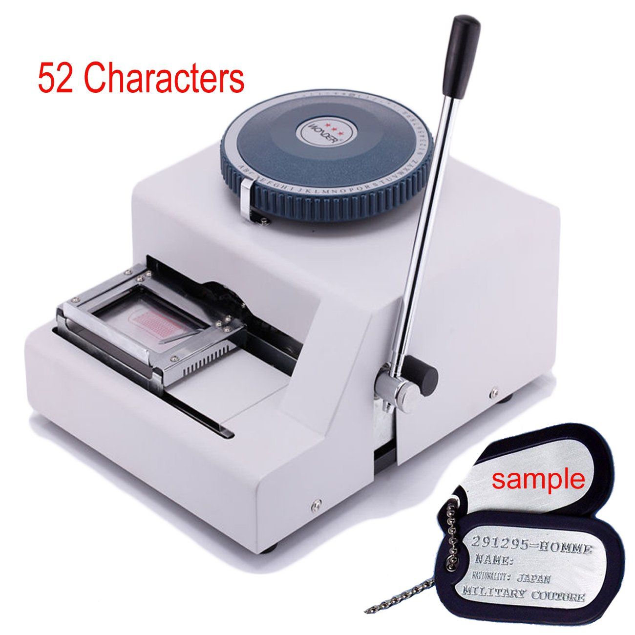 Ridgeyard 52 Characters Manual Dog Tag Embosser Engraver 52 Code Dog ID Card Military Embossing Stamping Machine by Ridgeyard
