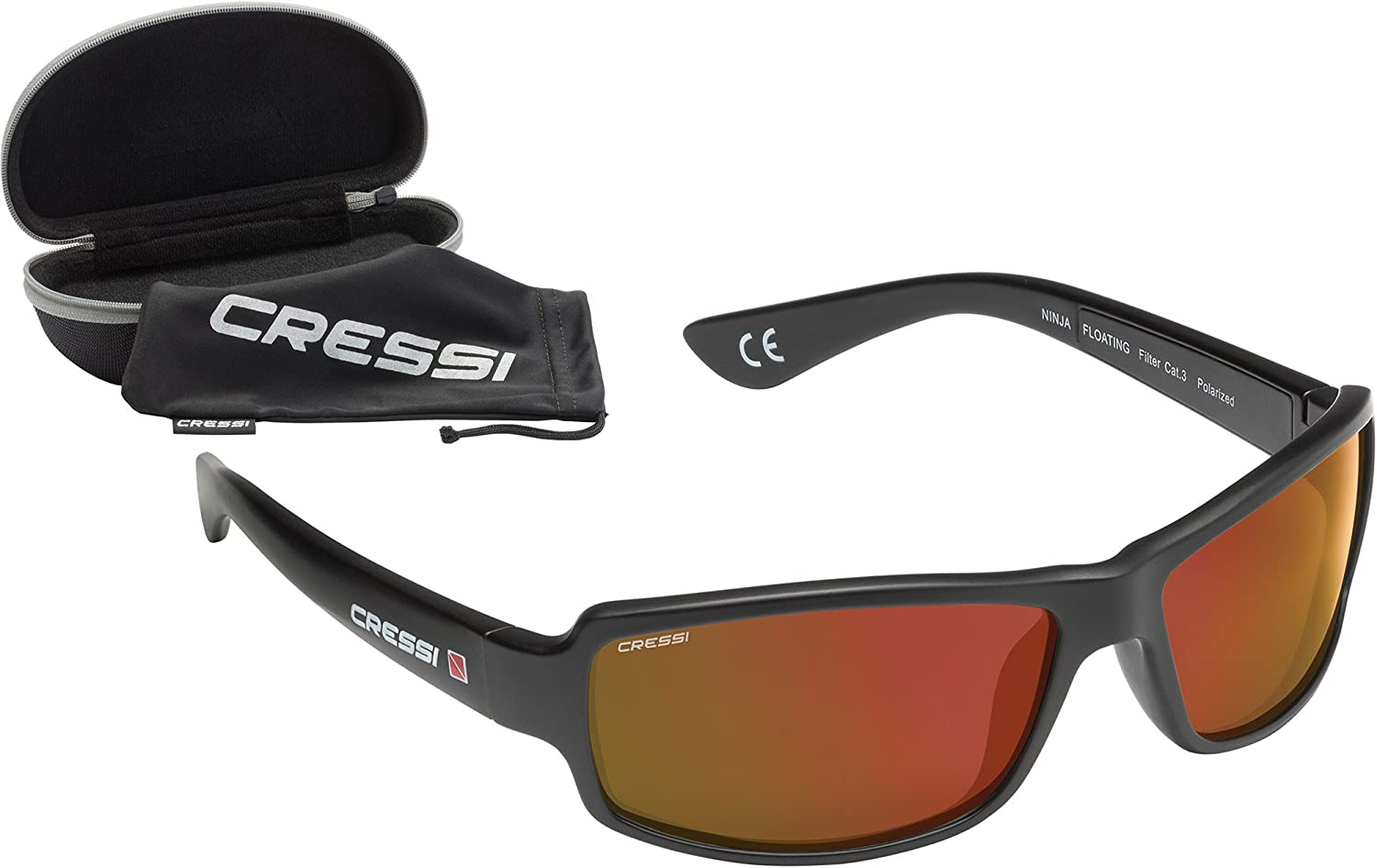 Cressi Ninja, Sunglasses Sport Mens, Polarized Lenses, with Hard Case Italian Quality Since 1946 Includes Floating Versions DB100001