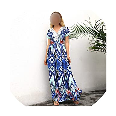 a9f587be0e Sexy Boho Floral Print Long Dress Women Vintage V Neck Short Sleeve Summer  Beach Dress Lace