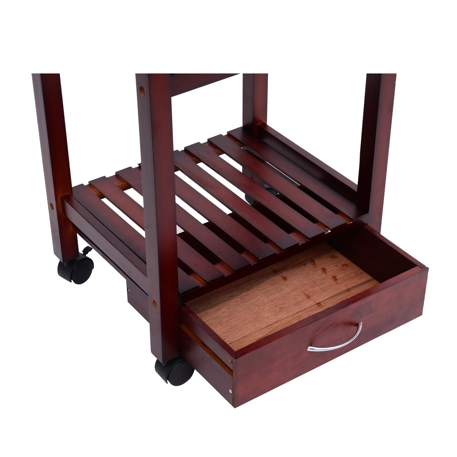 Festnight Kitchen Trolley Dining Storage Cart with Drawers and Wine Rack,Vintage Style by Festnight (Image #1)