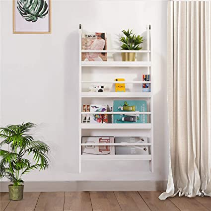 outlet store c5e49 6fe70 DOSLEEPS Children Wall Bookcase, Kids Bookshelf Wooden Book Display Stand  Organizer/Storage Rack - No Sharp Edges - Can be Mounted in the Wall - White
