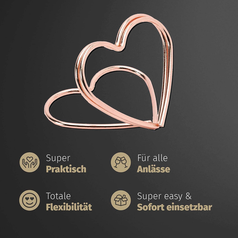 gratis To-Do-Liste von bigdaygraphix 50 Kartenhalterungen Herz Kupfer Ros/égold Halterungen f/ür Tischkarten inkl