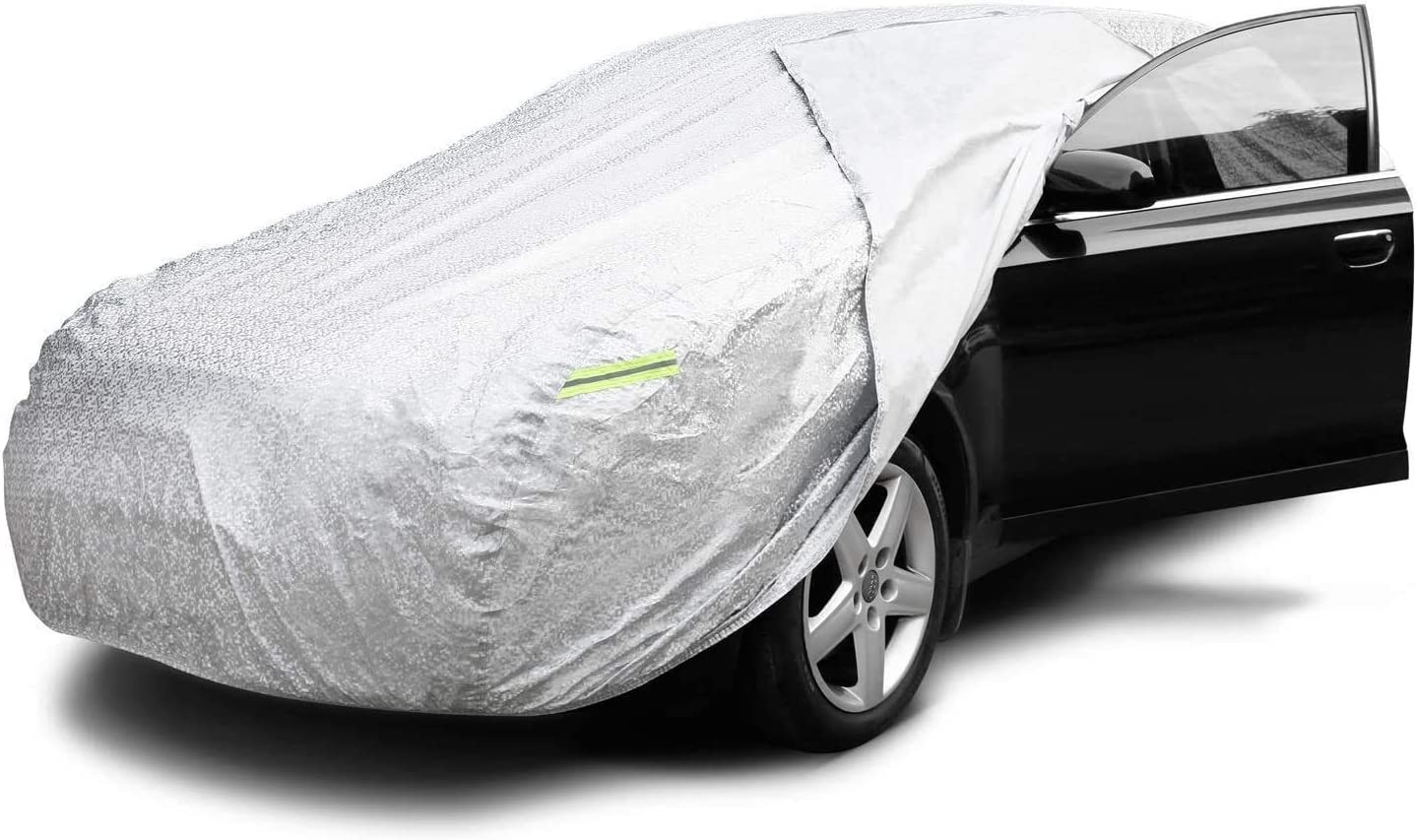 INTEY Car Cover(480 * 175 * 120cm) With side opening Waterproof Breathable Heavy Duty Scratch Proof Cotton Lining Full Car Cover in All Weather