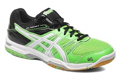 ASICS Men\u0027s Gel-Rocket 7 Neon Green, White and Black Badminton Shoes - 12