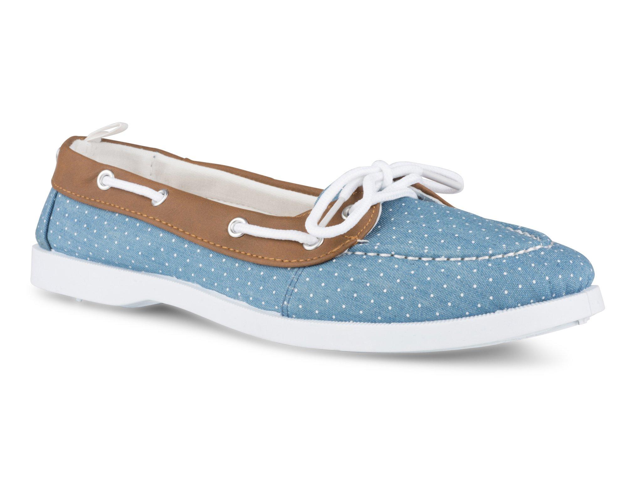 Twisted Women's Bonnie Contrast Stitched Canvas Athletic Boat Shoe - BONNIE126 LTDENIM, Size 8