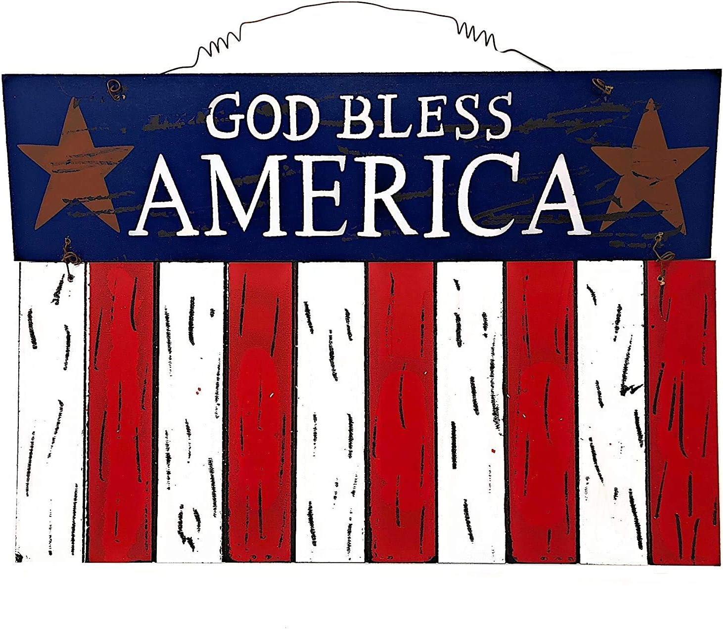 """D.I. Inc God Bless America Patriotic Rustic Decor Wall Art Front Door Display (15.8"""" x 11.5"""")"""