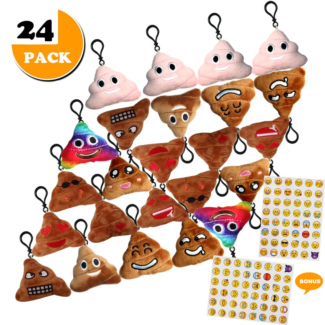 Poop Emoji Funny Prizes Toy Plush Keychain Kids Bday Supplies Favor Party Decoration, 24 Pack Emoji-pop Emoticon Mini Pillow Backpack Clips, Car Key Chains Pendant Goody Bag Stuffed, Bonus Sticker