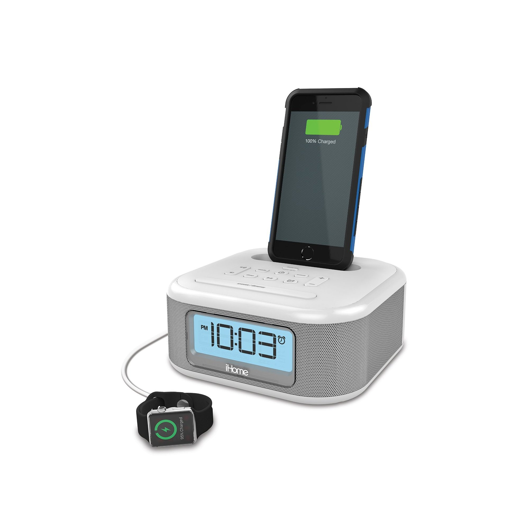 iHome iPL23 Stereo FM Clock Radio with Lightning Dock Charge/Play for iPhone 5/5S 6/6Plus 7/7Plus with USB Out to Charge any USB Device -White