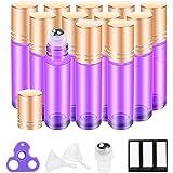 Roller Bottles 10ml (Popular Ultra Violet Glass, 12pack, 3 Extra Stainless Steel Roller Balls,24 Labels, Opener, 2 Funnels by PrettyCare) Purple Roll on Bottles, Roller Balls For Essential Oils