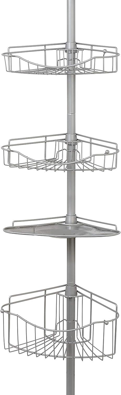 Zenna Home Shower Tension Pole Caddy, Satin Nickel