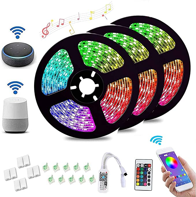 Madeb Tiras LED, 15M 5050 RGB Impermeable Tira WiFi LED USB con ...