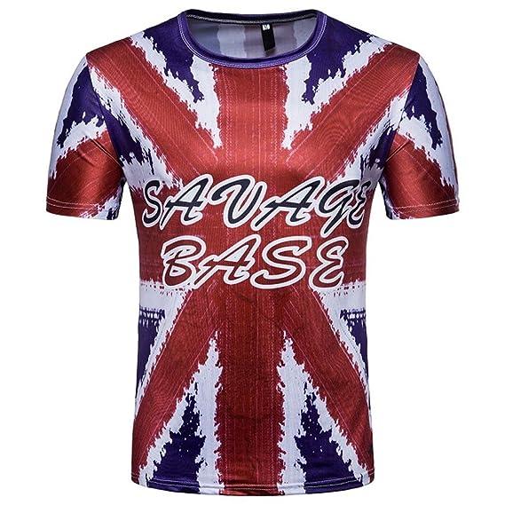 WINWINTOM Verano Casual Camisas De Hombre, Moda Ajustado Camisetas, Hombres 3D Camiseta Fútbol Impresión