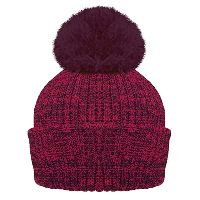 f53bf823d62 RockJock Ladies Marl Chunky Knit Bobble Hat with Fleece Thinsulate  Lining-Burg  Amazon.co.uk  Clothing