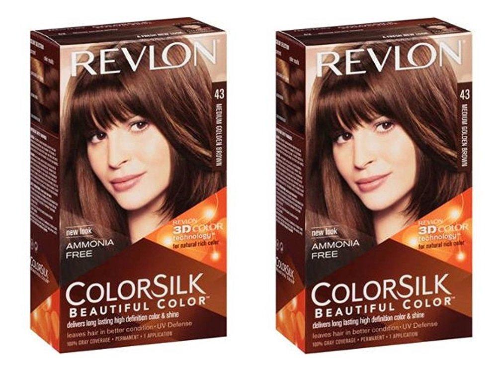 Revlon ColorSilk Hair Color 43 Medium Golden Brown 1 ea (Pack of 2) + FREE LA Cross 71817 Tweezer