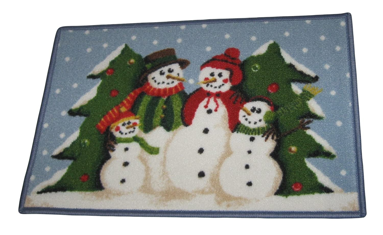 Snowman Family with Christmas Trees 17 Inch X 27 Inch Accent Area Rug Mat