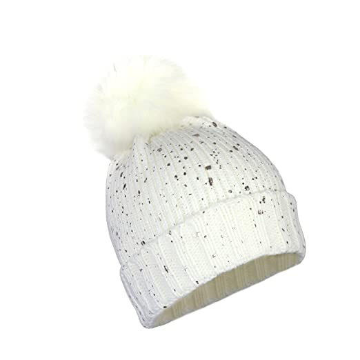 83db3068dce Metallic Stretch Winter Beanie and Sparkle Shiny Foil Holographic Fleck  Cuff Knit Hat w Pom (Gold Fleck on White) at Amazon Women s Clothing store
