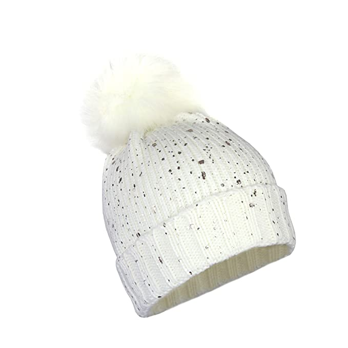 ee91e1124 Metallic Stretch Winter Beanie and Sparkle Shiny Foil Holographic Fleck  Cuff Knit Hat w/Pom