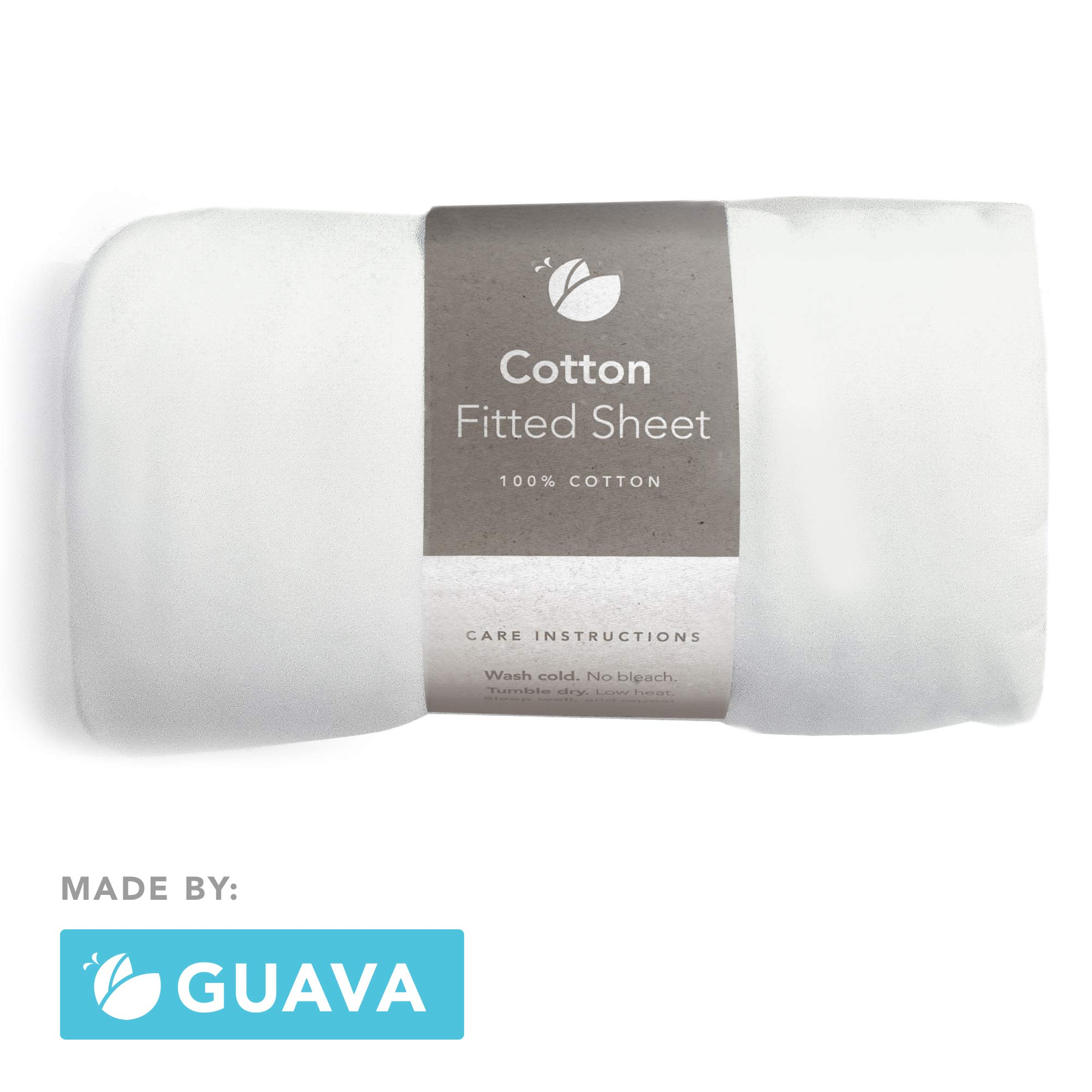GUAVA FAMILY - Lotus Crib 100% Cotton Fitted Sheet | Perfect, Manufacturer-Approved Fit, Soft & Safe for Infants, Baby and Toddlers, Unisex, Boys & Girls - Fits Both Velcro & Buckle Versions (White) by Guava Family