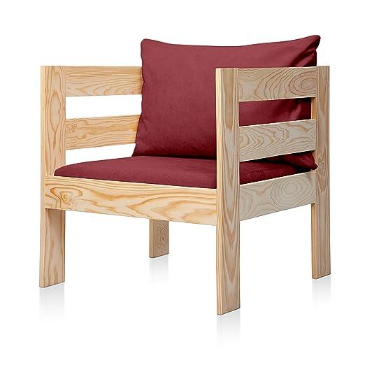 SUENOSZZZ - Sofa Jardin de Madera de Pino Color Natural, MEDITERRANEO Mod. sillón, Sillon cojín Tela Color Rojo. Muebles Jardin Exterior. Silla para ...