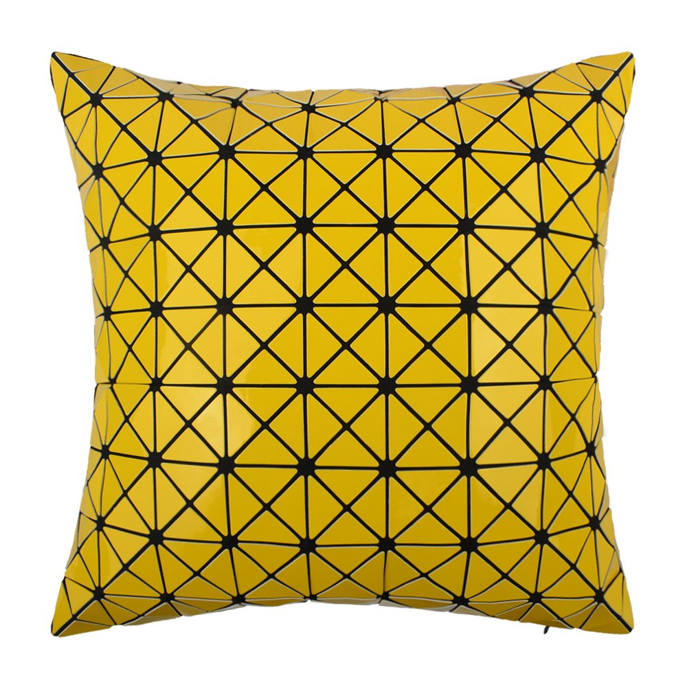 JWH Throw Pillow Cases Geometric Fuax Fur Bright Triangle Plate Cushion Covers Decorative Pillowcases Home Sofa Car Bed Room Decor 16 x 16 Inch Yellow