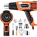 ENERTWIST Heat Gun 1500W Variable Temperature 140~932℉(60~500℃) Adjustable w/ 9 Attachment Kit Over Heating Protect for Crafts, Electronics, Shrink Wrapping, Vinyl Wrap, Paint Removing, Pipe Bending