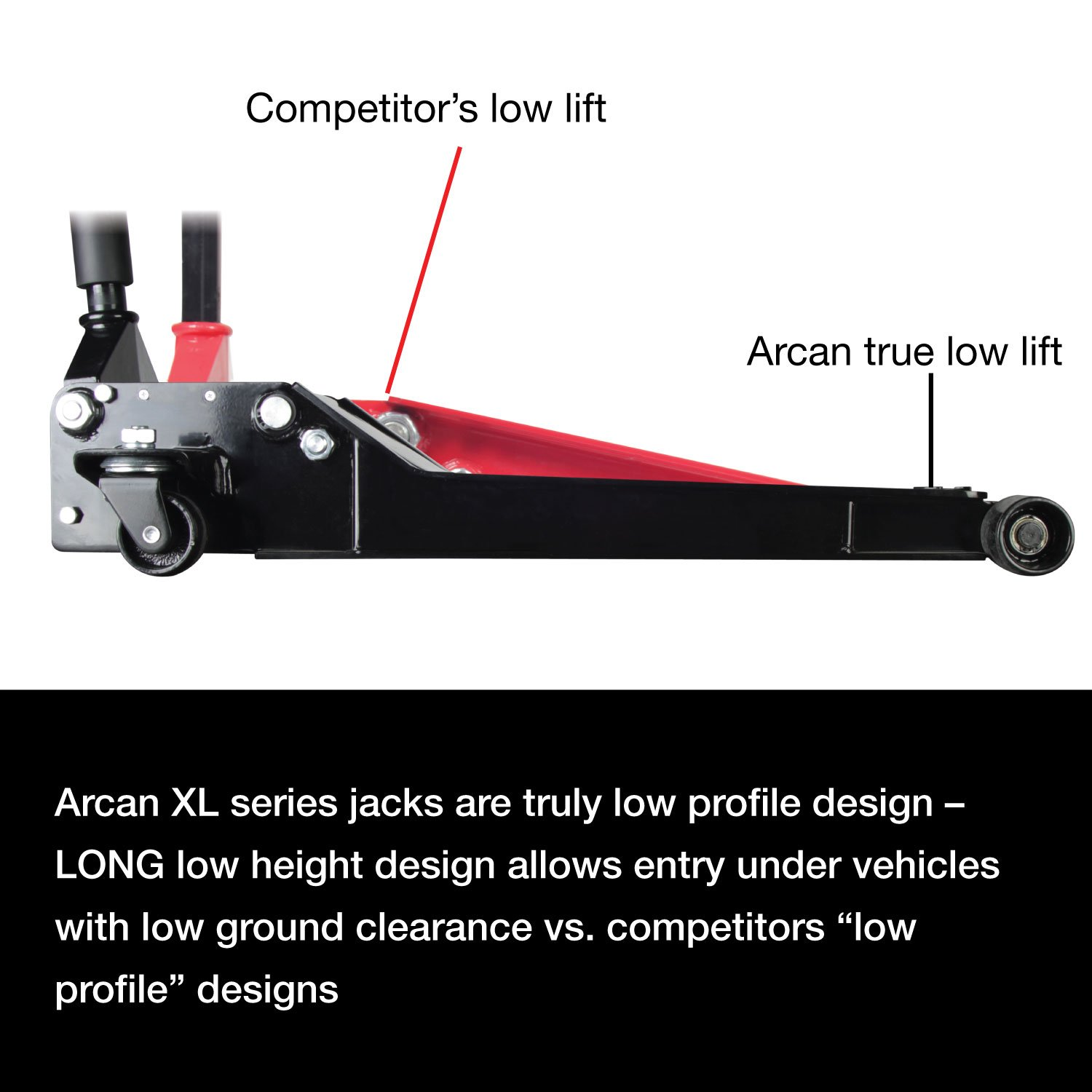 2 Ton Capacity Arcan XL2T Black Low Profile Steel Service Jack