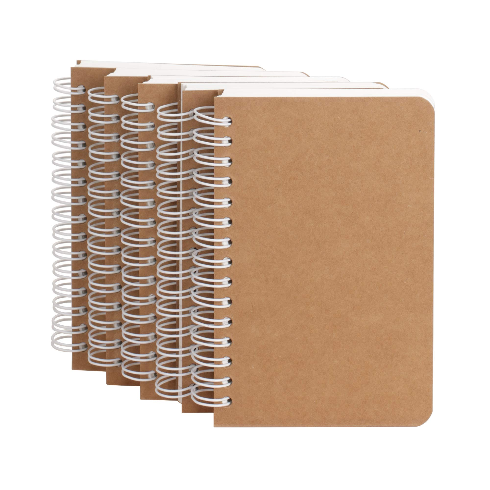 Kraft Cover Lay Flat Spiral Notebooks - Five Pack - A6 Sized - 180 Ruled Pages - 90 Sheets - Easy to Carry