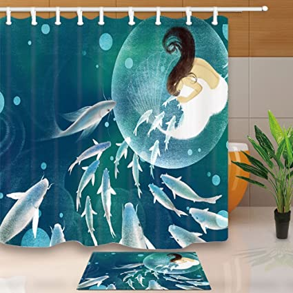 Fantasy Shower Curtain Elf Fish Girl Mermaid Fly In Dreamworld 708X708in Mildew Resistant
