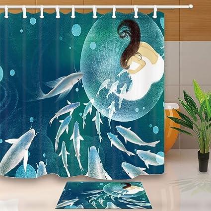 Fantasy Shower Curtain Elf Fish Girl Mermaid Fly In Dreamworld 708X708in Mildew Resistant