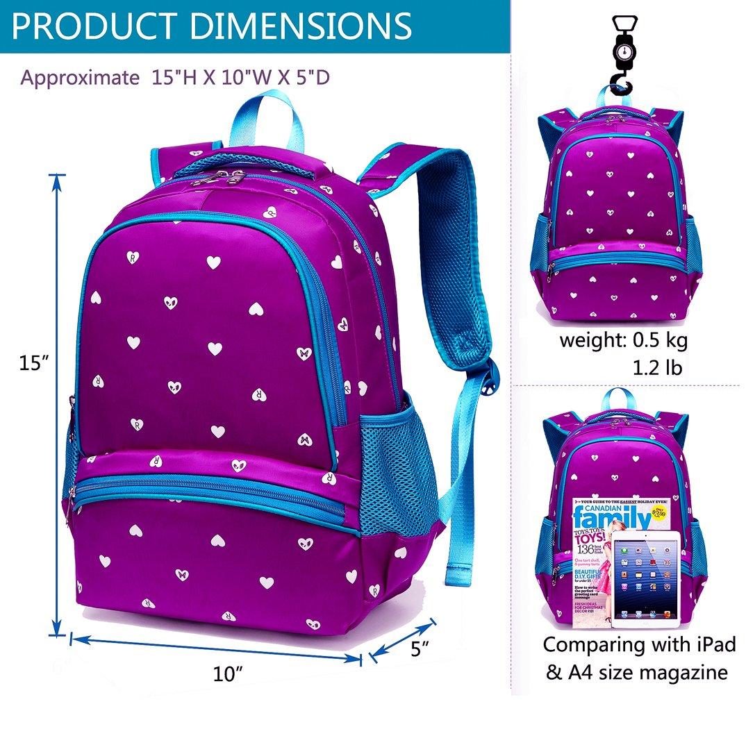 3645109bb7b4 Amazon.com  BLUEFAIRY Girls Backpacks for Kindergarten Kids Girly School  Bags Durable Bookbags for Little Girls 15 Inch Nylon Heart Print (Small ...