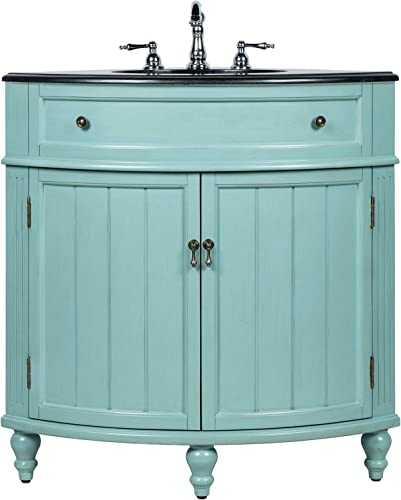 24 Benton Collection Thomasville Blue Slim Corner Bathroom Sink Vanity GD-47555