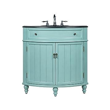 24 Benton Collection Thomasville Blue Slim Corner Bathroom Sink