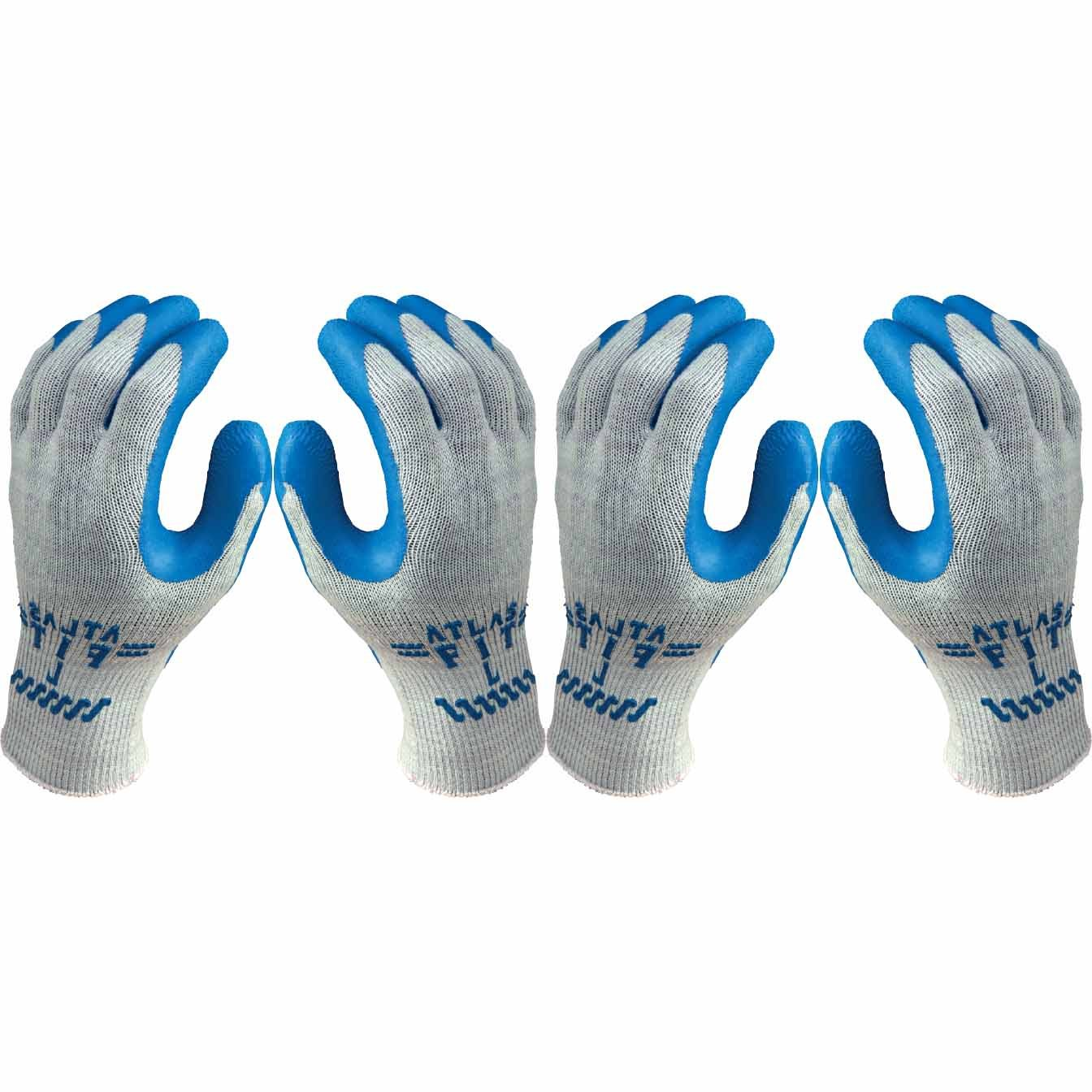 Atlas Fit 300 Blue Latex Palm-Dipped Blue Rubber Work Glove X-Large, 72-Pair by Atlas Showa (Image #2)