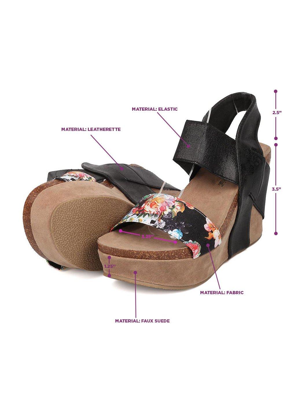 Heartthentic Tricia-10 Women Mixed Media Floral Platform Wedge Sandal HA98 B071J594ZD 7 M US|Black Mix Media