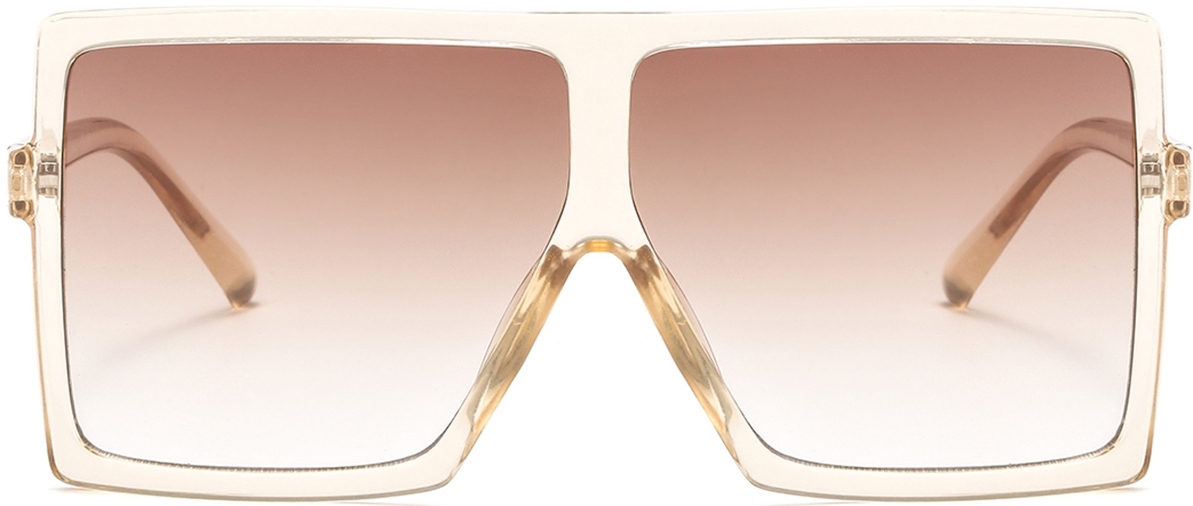 MAOLEN Square Oversized Flat Top Sunglasses for Women and Men (transparency-brown-gloss black-grey) by MAOLEN (Image #4)