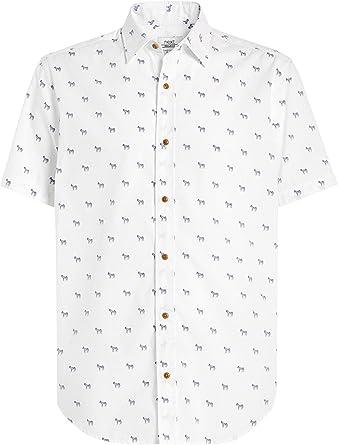 next Hombre Camisa De Manga Corta con Estampado De Cebra Blanco XXXXL: Amazon.es: Ropa y accesorios
