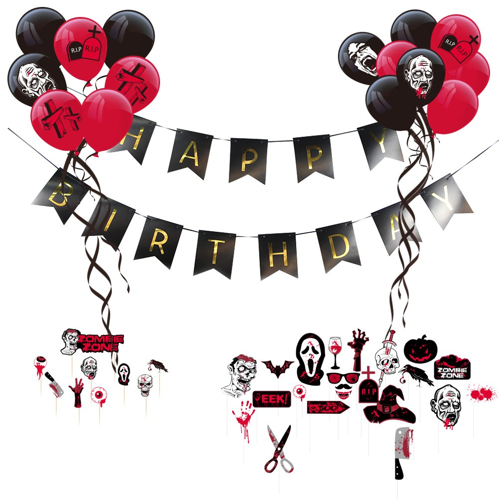 Zombie Party Theme Happy Birthday Decoration Kit Latex Balloons Scary Photo Booth Props Halloween Supplies SUNBEAUTY
