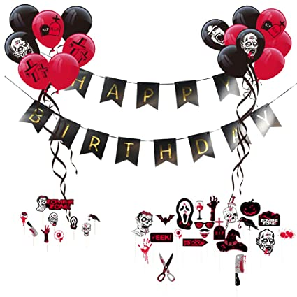 Amazon Zombie Party Theme Happy Birthday Decoration Kit Latex