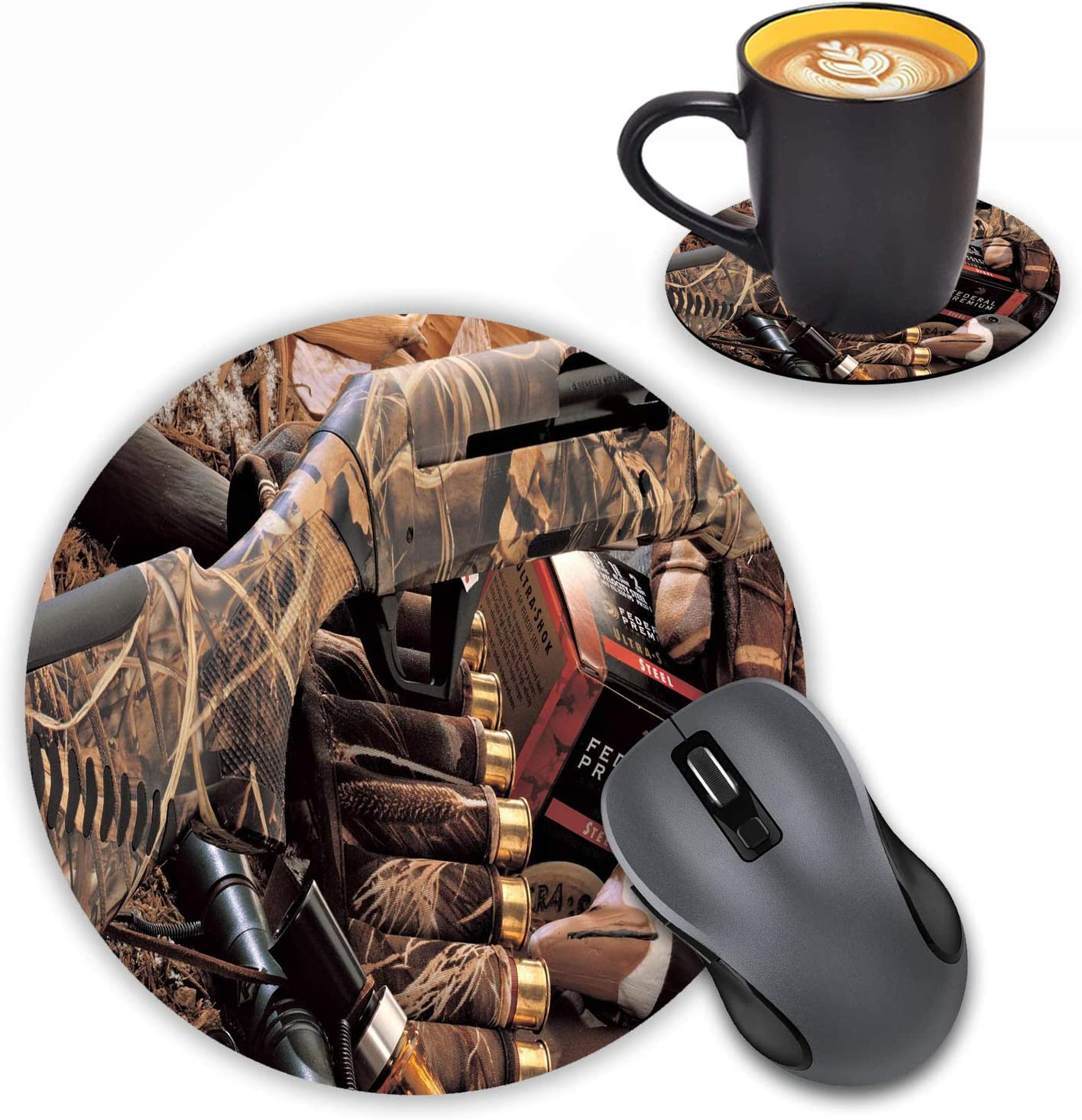 LOWORO Round Mouse Pad with Coasters Set, Duck Hunting Camouflage Shotgun Bullets Decoy Design Mouse Pad Non-Slip Rubber Mousepad Office Accessories Desk Decor Mouse Pads for Computers Laptop