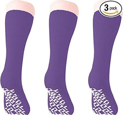 Personal Touch Top of the Line Hospital Non Skid Slipper Socks Ladies or Mens Colors 3 Pairs
