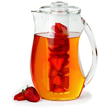 Chef's INSPIRATIONS Fruit Infusion Water Pitcher. 2.9 Quart (2.75 Liters). Best For Infused Lemon, Fruit, Herbs Or Tea Beverages. Shatterproof Acrylic. Includes Ice Core & Bonus Infuser Recipe eBook