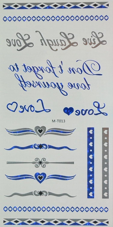 spestyle temporales joyas tatuajes azul y plateado y negro ...