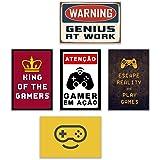 5 Placas Decorativas Quadrinhos MDF Gamer Nerd Geek Jogos Gaming Vídeo Games Quarto 30x20cm