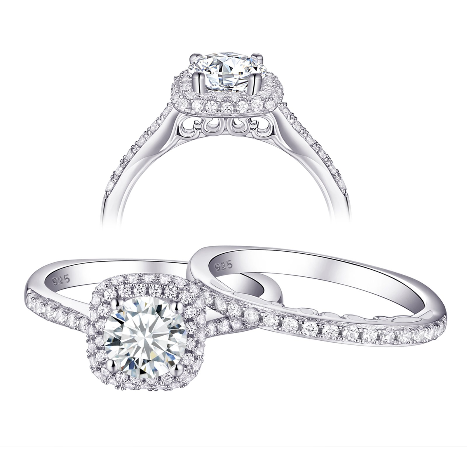 Newshe Wedding Engagement Ring Set Women AAA Cz 1.6ct Round 925 Sterling Silver Size 6