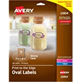 """Avery Oval Labels with Sure Feed, Laser & Inkjet Printers, 1.5"""" x 2.5"""", 180 Glossy Crystal Clear Labels (22854)"""