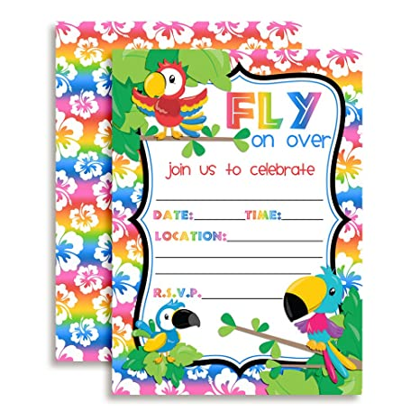 Amanda Creation Tropical Bird Birthday Party Fill In Invitations Set Of 20 With Envelopes